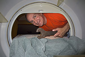 Gary looking in dryer