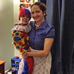 Michelle and son on Halloween
