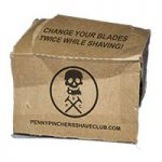 crumpled cardboard box with Penny-pinchers logo